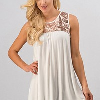 Sleeveless Sequins Top - Ivory