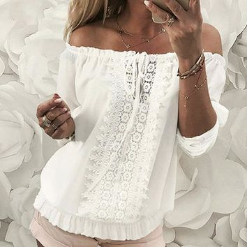 Chiffon Blouse Shirt Women Lace Off Shoulder Sexy Hollow Out Ruffles Blouses Club Casual Tops Blusa Mujer