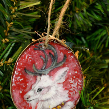 Reindeer Christmas Tree Hand painted birch wood Ornament