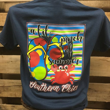 Southern Chics Pinch of Summer Crab Bright Girlie T Shirt