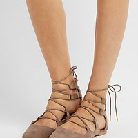 QUPID LACE-UP POINTED TOE FLATS