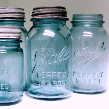 Blue Mason Jar, Ball Perfect Mason Canning Jar, Quart Size Antique Fruit Jar