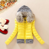 WOW-YEAH Fur Collar Hood Patchwork Parka = 1932206276