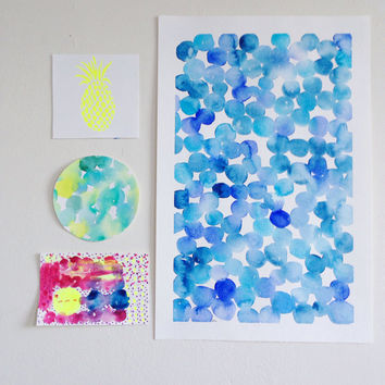 Blue abstract watercolor dots / Calming modern nursery wall art / original watercolor
