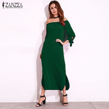 2017 ZANZEA Autumn Lace-up 3/4 Sleeve Sexy Slash Neck Off Shoulder Maxi Long Dress Womens Casual Beach Split Vestido Plus Size