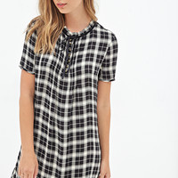 FOREVER 21 Plaid Smock Dress Black/Cream