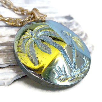 Carved Palm Tree Pendant On Chain With Iridescent Finish, Palm Tree Necklace, Palm Tree Jewelry, Intaglio Necklace, Beach Jewelry, Tropical