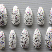 Almond Off-White with Multichrome Flake Nails | Press On Nails | Fake Nails | False Nails | Glue On Nails | Acrylic Nails | Nail Art