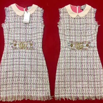 GUCCI Embroidered multicolor tweed dress