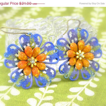 ON SALE Lavender Flower Earrings,Summer Earrings, Filigree Flowers, Blue, Orange