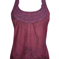 Loved and Lovely Sleeveless Blouse Halter Neck Pink Embroidered Summer Top