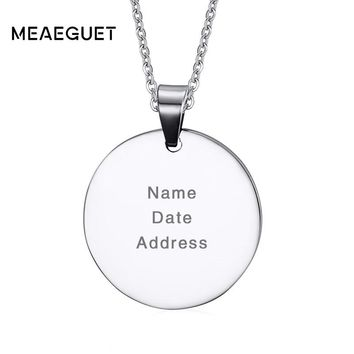Meaeguet Laser Engrave Personalized Round Dog Tag Necklace Pendant 316l Stainless Steel Jewelry For Women Men Love