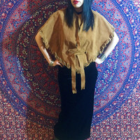 Vintage 70s Brown Western Real Suede Leather Fringe Cape w/ Belt One Size Fits Most