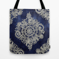 Cream Floral Moroccan Pattern on Deep Indigo Ink Tote Bag by Micklyn