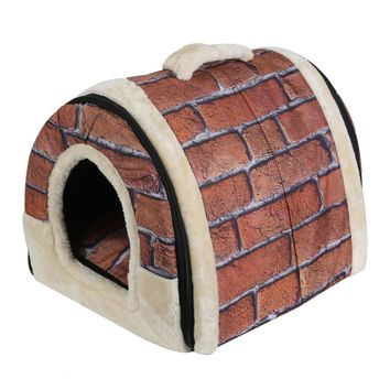 Portable Foldable Dog Puppy Cat House Kennel Nest Soft Bed With Mat For S/M Pet Comfortable Travel Bed Tent 4 PatternsPatt