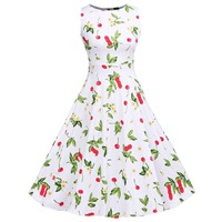 Womens Summer Elegant Vintage Floral Flower Print Charming Pinup Retro Rockabilly Party Ball gown Dress