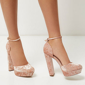 Pink velvet platform heels - shoes / boots - sale - women