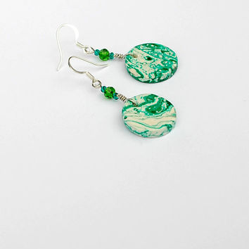 Forest green earrings. Green and white marble earrings. Green dangle earrings.