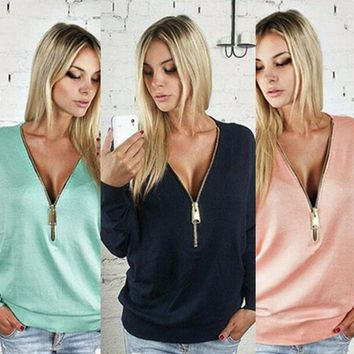 Sexy deep V zipper sleeve long sleeve T-shirt