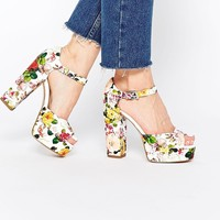 New Look Wide Fit Floral Print Platform Heeled Sandals