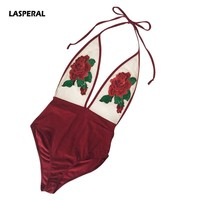 LASPERAL  Piece  Swimsuit  Solid  Floral  Embroidery