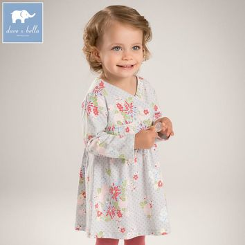 DB5836 DAVEBELLA autumn new girls cotton floral dress princess dress children boutique dress Sakura dress
