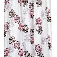 "Spring Bloom Fluffy Floral Extra Long Fabric Shower Curtain Size: 70"" x 84"""