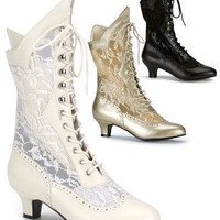 Gothic Victorian Steampunk Vintage Fancydress Ivory Wedding Lace Boots Size 6