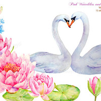 Wedding clipart - Hand painted watercolor pink waterlilies, buds and 2 white swans printable instant download  for  wedding invitations