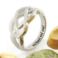 """Couples Ring, Infinity Ring, Promise Ring Infinity Symbol Ring """"One Heart And Soul"""""""