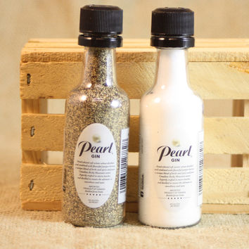 Salt & Pepper Shakers Upcycled from Pearl Gin Mini Liquor Bottles, Mini Liquor Bottle Shaker Set