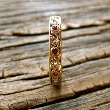 Hand Crafted Wedding Ring with Rubies and Scrolls in Two Tone 14K White & Yellow Gold Size 7.75/3.5mm