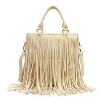 White PU Shoulder Bag With Long Tassel