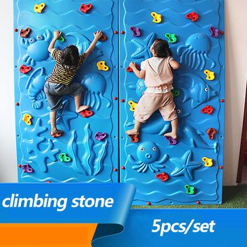 5pcs/set Outdoor Toy Plastic Climbing Wall Rock Holds Set Kits Rock Climbing Stone Training Playing Outside Adult Outdoor Toy