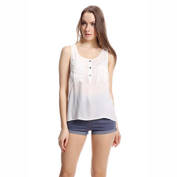 White Chiffon Sleeveless Top with Pocket and Button