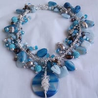 Zhaan Bliss Blue Gemstone Statement Necklace with Blue Agate and Swarovski Crystal in Presentation Box
