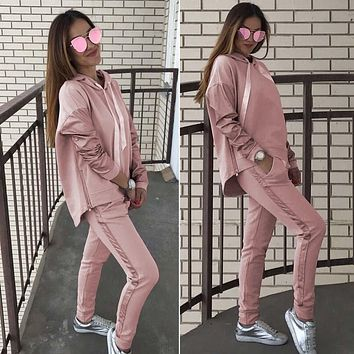 Women Tracksuit Two Piece Suit Autumn Winter Casual Long Sleeve Hoodies Sweatshirt+Long Pants Set 2018 Fashion Pink Outfits
