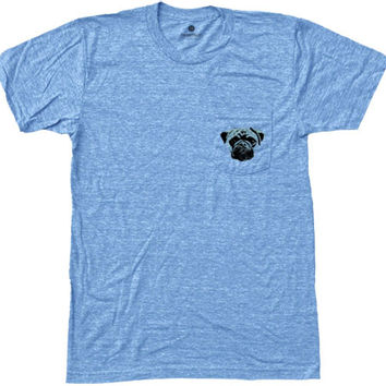 Pugalicious Pocket Tee - TriBlue