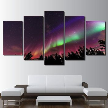 Northern Sky Aurora Psychedelic Purple Starry Sky Poster HD Prints Forest Pictures Home Decor