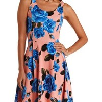 Peach Combo Cross-Back Floral Print Skater Dress by Charlotte Russe