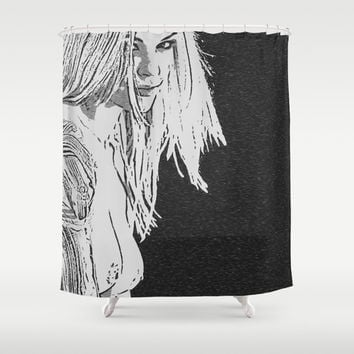 Focus... On the eyes! Sexy blonde black and white, kinky girl toples, nipple slip, sweet face, hot Shower Curtain by Peter Reiss