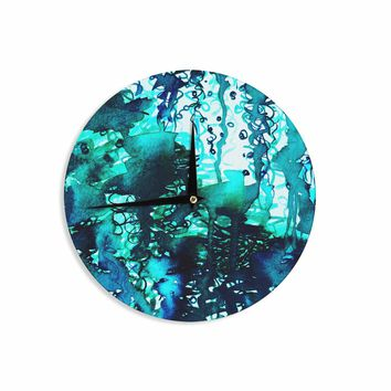 "Ebi Emporium ""The Perfect Storm - Turquoise"" Blue Teal Painting Wall Clock"