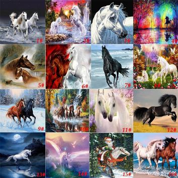 """25 Styles Fashion Horse 5D Diamond DIY Painting """"Horse Without a Stop"""" Home Decor"""