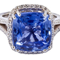 Prong settings Cushion AAA tanzanite diamonds 6.01 carat lady men ring
