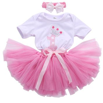3PCS New Baby Girl 1st Crown Bodysuit Headband Birthday Tutu Outfit Cute Princess Ball Gown Dress