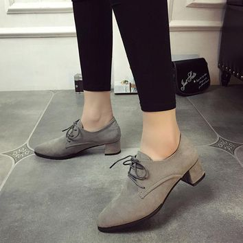 ONETOW Summer Pointed Toe Suede With Heel Anti-skid Strong Character Shoes [9432945354]