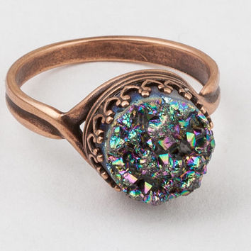 Druzy Ring Rainbow Titanium Quartz Agate Gemstone copper filigree bezel rose gold Statement Ring Cocktail Ring Gift by Steampunk Nation