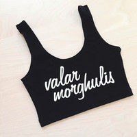 Valar Morghulis Spandex Crop Tank - Made in USA with an American Apparel top - Game of Thrones inspired