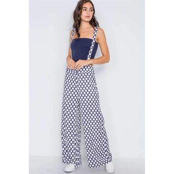 Navy White Polka Dot Wide Leg Suspender Pants