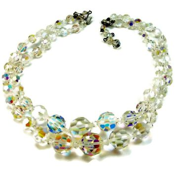 Heavy Glass Crystal Necklace Multi Strand Iridescent Beads AB Finish Chunky 90 grams